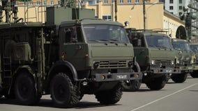 CC$PETERSBURG ROSJA, CZERWIEC, - 20, 2019: Rosyjska wojsko ciężarówka zbiory
