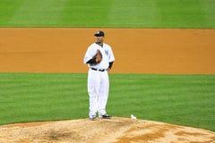 CC Sabathia getting ready to Pitch. CC Sabathia Yankees baseball player in pinstripe uniform number 52 Royalty Free Stock Images