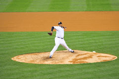 CC Sabathia Pitching from the Mound. CC Sabathia Yankees baseball player in pinstripe uniform number 52 Stock Photo