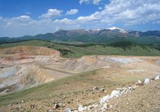 CC and V Gold Mine. Inside an active gold mine located between the small mining towns of Cripple Creek and Victor in Colorado.  Snow capped Pikes Peak is seen in Stock Image