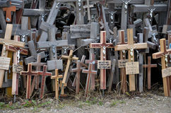 Cca 12 km north of the city of SIAULIAI / LITHUANIA - July 24, 2013: Close view of the Hill of Crosses, a place of worship for Chr Royalty Free Stock Image