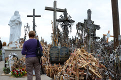 Cca 12 km north of the city of SIAULIAI / LITHUANIA - July 24, 2013: Close view of the Hill of Crosses, a place of worship for Chr Stock Images