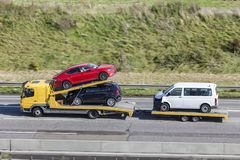Car transporter on the highway Royalty Free Stock Photo