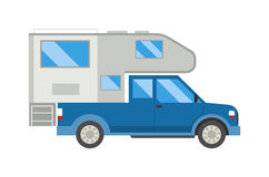 Ccaravan travel car vehicle trailer house summer vacation vector. Stock Images