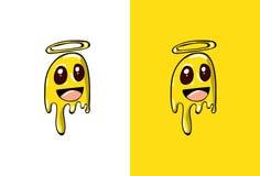 CCartoon Angel Emoji no estilo de Ghost ilustração stock