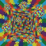 CCB abstrato do teste padrão da serra de vaivém do enigma da cor do vetor 3d Imagens de Stock Royalty Free