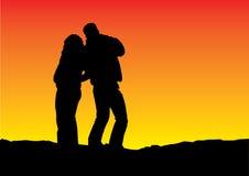 CCB del gradiente de la silueta de la puesta del sol stock de ilustración