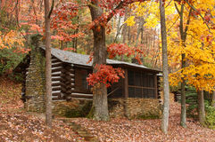 CCC Built Log Cabin with Autumn Color Stock Image
