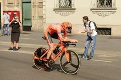 CCC Zespala się konkurenta przy wysoką prędkością przy Giro 2017, Mediolan Fotografia Royalty Free