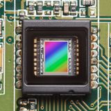 CCD sensor closeup. CCD sensor on a printed circuit board closeup Royalty Free Stock Photo