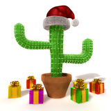 Cchristmas cactus. Renderd cactus with santa claus''s hat and colorful presents  on white background Stock Images