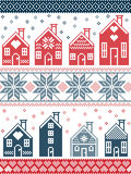 CChristmas and festive winter pattern in cross stitch style with gingerbread house village including decorative elements blue, red. Seamless Scandinavian style Royalty Free Stock Photography