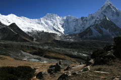 Cchukhung view. Mountains near Cchukhung village. Nepal 2008 Royalty Free Stock Images