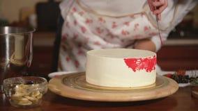 Cclose który przygotowywa tort up strzelał szefa kuchni ` s ręki kobieta dekoruje je zbiory wideo