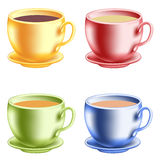 Ccofecup. Colored cups with coffee (with milk) or tea. Mesh Stock Photography