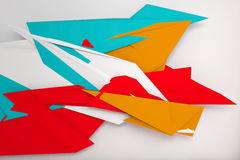 Ccolorful polygonal decoration on white. Abstract digital background with colorful polygonal decoration over white wall, 3d illustration Royalty Free Stock Photo