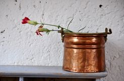 Ccopper pot with two wilted carnations Stock Photo