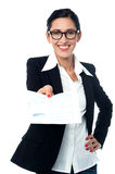 Ccorporate lady providing her financial reports Stock Photo