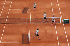 CCourt Philippe Chatrier preparation and maintenance team  at Le Stade Roland Garros during Roland Garros 2015 Stock Photos