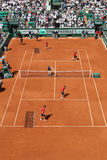 CCourt Philippe Chatrier preparation and maintenance team  at Le Stade Roland Garros during Roland Garros 2015 Royalty Free Stock Photo