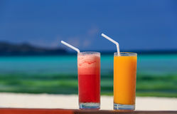 C?cteles del mango y de la sand?a en la playa tropical Fotografía de archivo libre de regalías