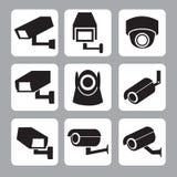 CCTV和安全监控相机传染媒介象的汇集 免版税库存照片