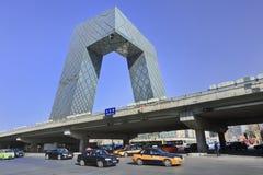 CCTV在一个晴天,北京,中国总部设 免版税库存图片