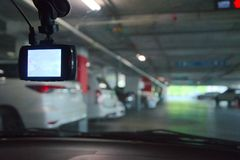 Cctv在停车场的照相机安全 免版税库存照片