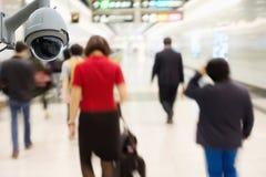 CCTV安全监控相机观察和监视在地铁st 免版税库存图片