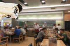CCTV安全监控相机运行的japaness餐馆迷离backgro 免版税图库摄影