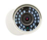 CCTV安全IP照相机,特写镜头照片,隔绝了在白色的对象 库存照片