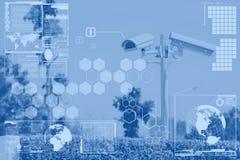 CCTV或监视与技术屏幕层数 免版税库存图片