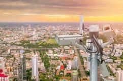 CCTV或监视器录音在城市 免版税库存照片