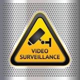 CCTV标志,在铬背景 库存图片