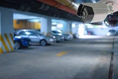 CCTV模糊的照片停车场 库存照片