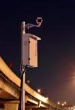 CCTV照相机在晚上运作 免版税库存图片