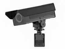 Cctv照相机或安全监控相机在白色 免版税库存图片