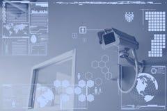 CCTV照相机或监视技术在屏幕显示 免版税库存图片