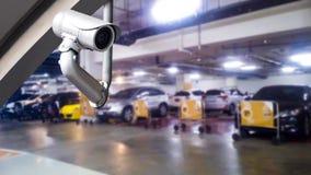 CCTV照相机或监视系统在停车处 库存图片