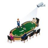 Cctv-Überwachungskamera auf isometrischer Illustration von den Leuten, die Poker am Kasino spielen Stockbilder