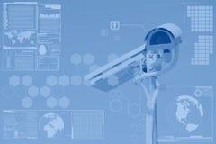 CCTV ή επιτήρηση με το στρώμα οθόνης τεχνολογίας στοκ φωτογραφία