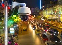 CCTV που εγκαθίσταται στον τοίχο στην ασφάλεια ιδιοκτησίας Στοκ φωτογραφία με δικαίωμα ελεύθερης χρήσης