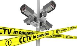 CCTV σε λειτουργία ενάντια ως δολάρια έννοιας δολώματος ανασκόπησης γκρίζα κρεμάστε το αγκίστρι απεικόνιση αποθεμάτων
