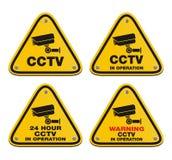 CCTV в деятельности - желтом знаке Стоковое Фото