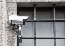 CCTV на барах тюрьмы Стоковая Фотография