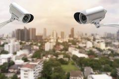 CCTV с предпосылкой нерезкости зданий Стоковая Фотография RF