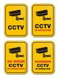 24 CCTV часа в деятельности - желтых знаках Стоковые Фотографии RF