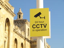 CCTV 24 hour Security Camera video sign Royalty Free Stock Photo