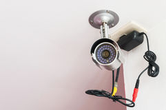 CCTV. Security camera is on the white wall Royalty Free Stock Photo