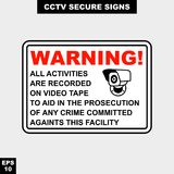Cctv, alarm, monitored and 24 hour video camera sign in  style version, easy to use and print. Sign and symbol for office and factory worker, attention the rule Stock Image